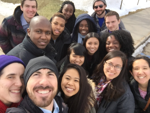 Students and supporters pause to take a photo before delivering care packages to refugees in Grand Rapids, Michigan. | Courtesy of Bill Wells